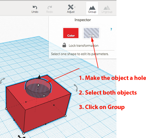 tinkercad how to make a hole